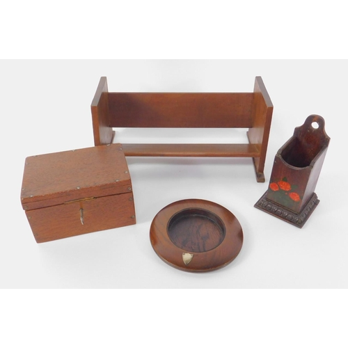 57 - A group of chapel items, comprising a book trough, box with key, oak circular collection plate with ...