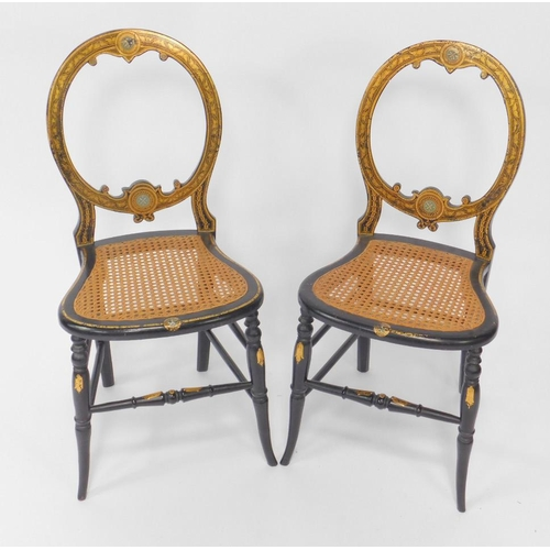 7 - A pair of Victorian papier mache and gilt decorated salon chairs, possibly Jennens & Bettridge, ball...