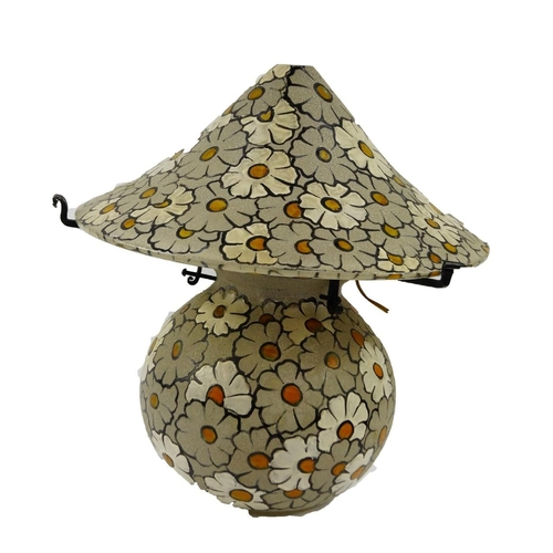 17 - A French early 20thC glass table lamp and shade, signed Mazover, France., of globular form overlaid ...