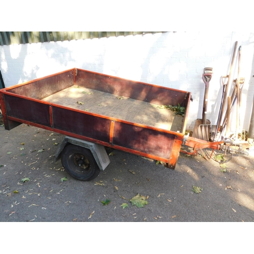 3001C - A wood and metal framed single axle trailer, 196cm L x 154cm W....