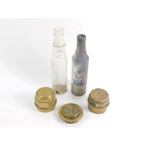 3004 - Three brass hub caps, including Lancia and one engraved to J & R Chapman, Builders, Kings Cliffe, to...