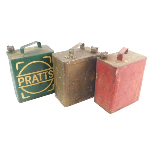 3010 - Three Petroleum Spirit cans, comprising Pratts, SM & BP Ltd (in red), and Shell Aviation Spirit....