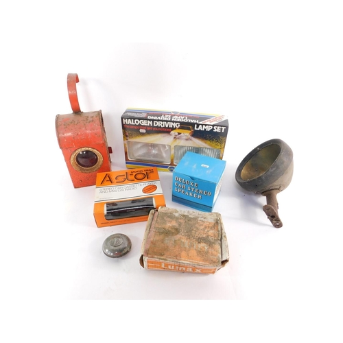 3036 - A Ring Halogen driving lamp set, Lumax automobile lamp, Astor Model SR64 stereo car cassette player ...