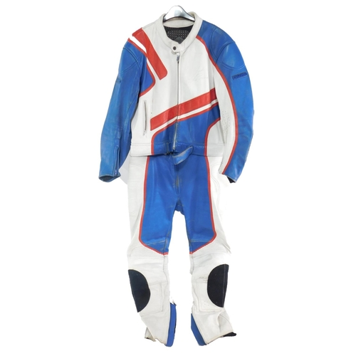 3044 - A Fieldsheer motorcycle riding suit, signed by motorcycle racer John Reynolds, who won the British S...