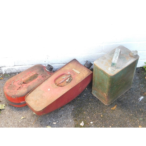 3054 - Three petrol cans, including a Volvo can....