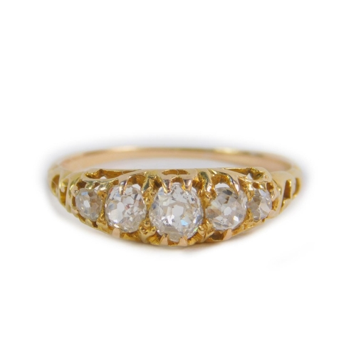 13 - A Victorian diamond five stone ring, set with rose cut diamonds, in yellow metal, approx 0.7cts, siz...