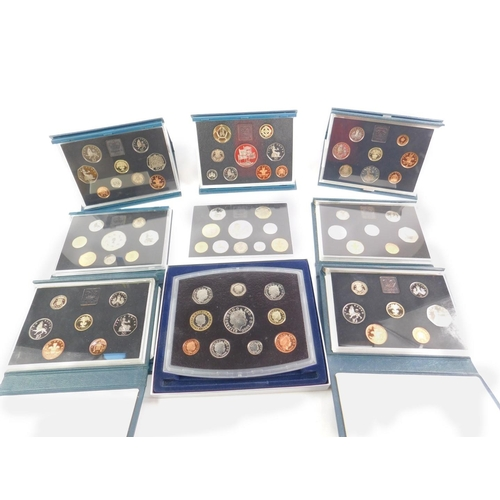 52 - United Kingdom proof coin collections 1984 - 2000, cased with certificates, two duplicates, 1990 lac...