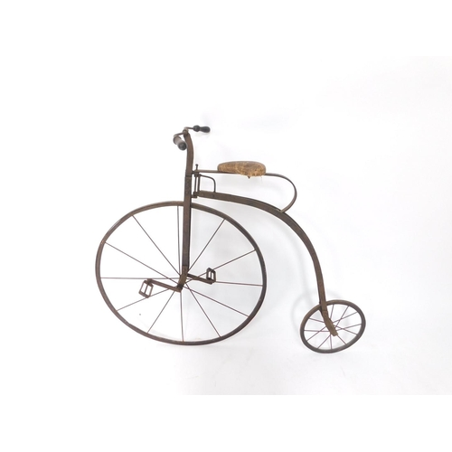 3002 - A Victorian penny farthing, with later adaptations, 105cm H....