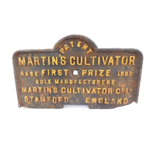 3015 - A Martin's Cultivator RASE First Prize 1900 cast iron plate, for Martin's Cultivator Company, Stamfo...
