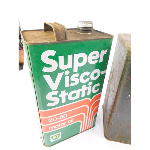 3019 - Three vintage oil cans, comprising BP, Esso, Duckhams, together with a Shell petrol can. (4)...