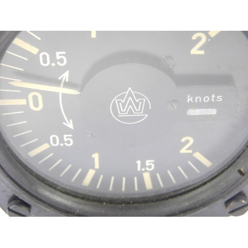 3037 - A Winter Instruments aircraft variometer, model no STV1, black dial with white loom numbers, single ...