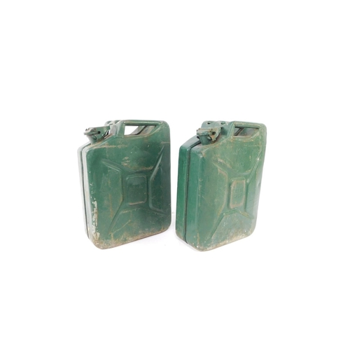 3045 - Two military Jerry cans, both painted green, one dated 1953, the other 1967....