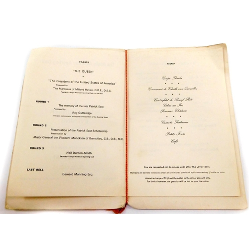 26 - An autographed Anglo-American Sporting Club menu, London Hilton Hotel, Monday 29th September 1969, A...