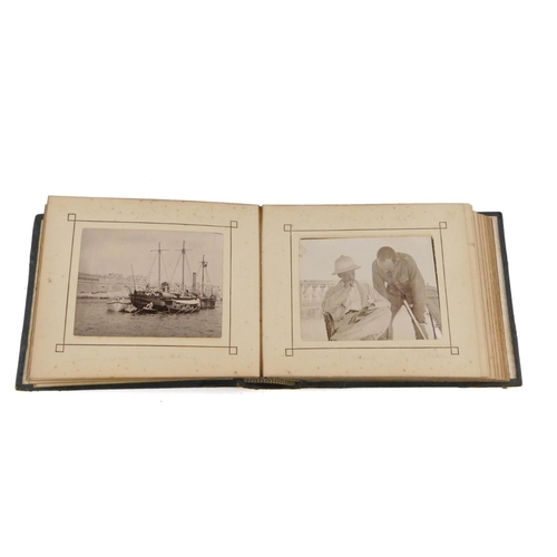 38 - A Victorian photograph album showing views of Malta and Sicily, including war ships in the Grand Har...