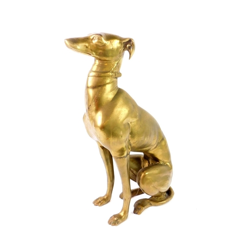39 - A Victorian brass figure of a greyhound modelled seated, wearing a neckerchief and collar, 56cm H....