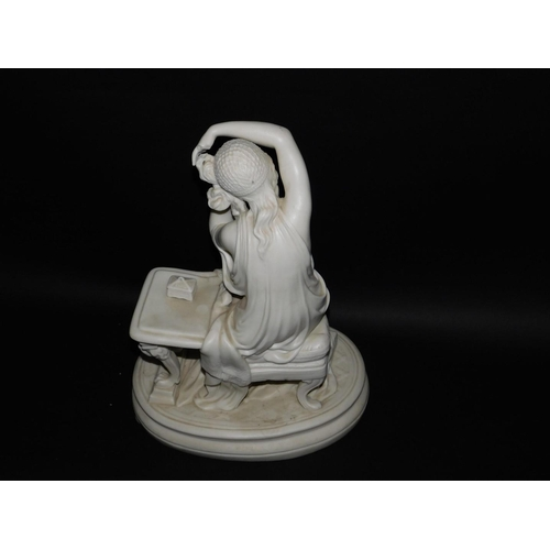 52 - A late 19thC Parian figure group, of a Roman lady at a table, a child at her feet, raised on an oval...