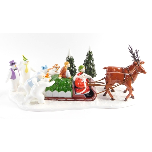 7 - A Coalport Characters Father Christmas and the Snowman figure group, modelled as a Sleigh Ride Home,...