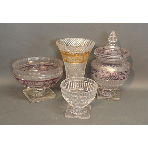 1 - A Cut Glass Covered Vase together with three other similar vases...
