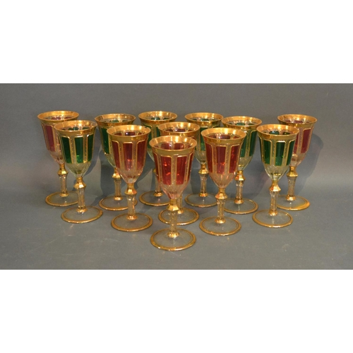6 - A Set Of Twelve Coloured Wine Glasses Highlighted With Gilt...