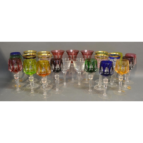 7 - A Collection Of Coloured Wine Glasses...