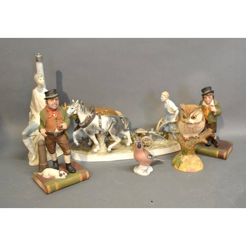 11 - A Pair Of Aynsley Dickensian Bookends, together with a Royal Copenhagen model of a bird and two Llad...