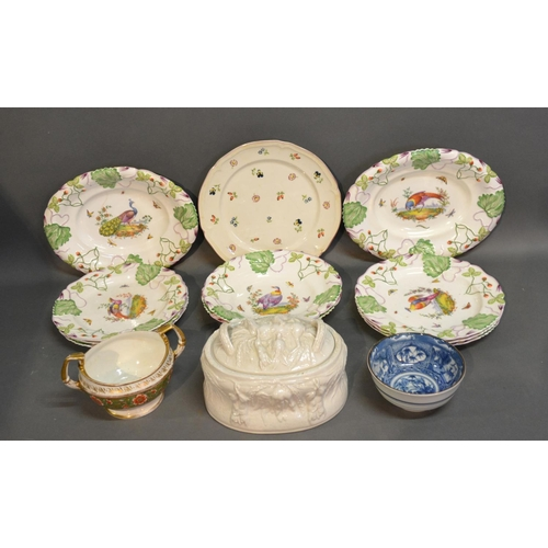 16 - A Copeland Desert Service Together With A Game Pie Dish and Cover by Portmeirion, a Crown Derby Sucr...