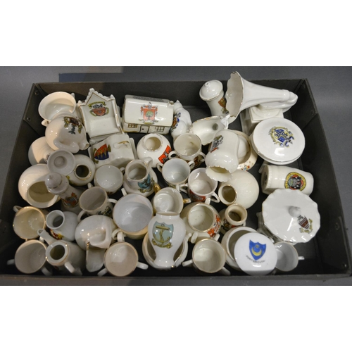 26 - An Arcadian Model Of A Gramophone With Sandown Crest, together with a collection of crested china to...