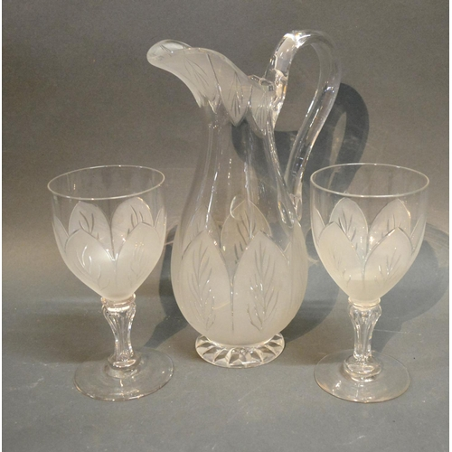 28 - A Richardson Glass Ewer Together With A Pair Of Matching Goblets...