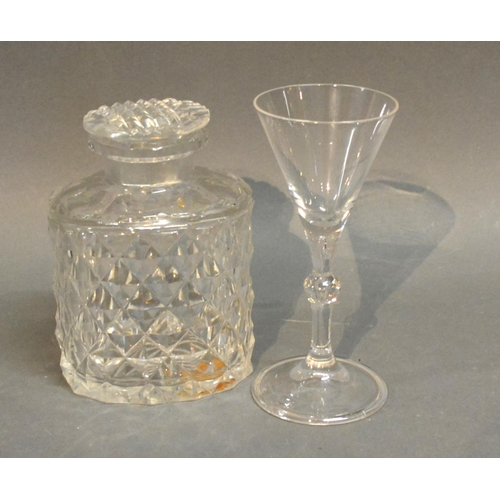 29 - A Late Georgian Glass Tea Caddy Together With A Cordial Glass...