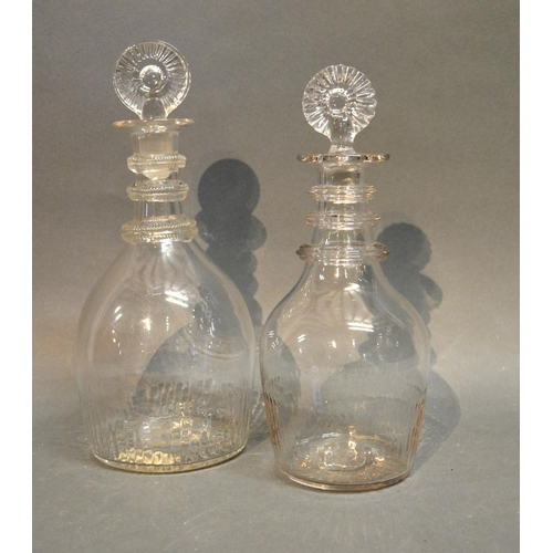 30 - A George III Irish Glass Decanter With Stopper, together with another similar, the larger decanter h...