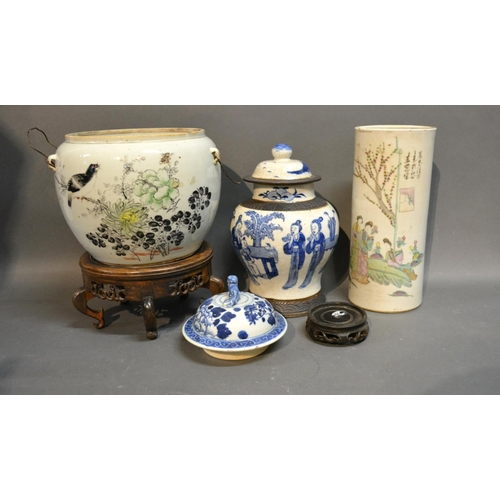31 - A Chinese Crackle Ware Under Glazed Blue Decorated Vase, together with a cylindrical Canton vase bea...