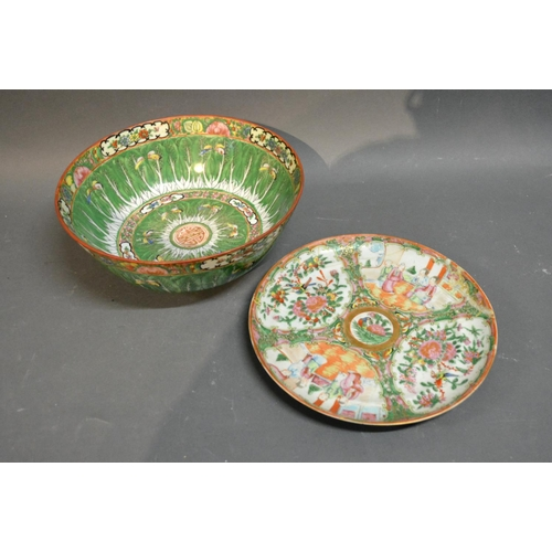 32 - A Canton Bowl, 26cm Diameter Together With A Canton Plate...