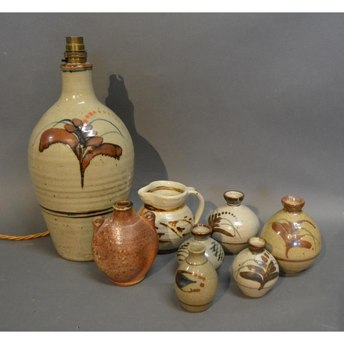 47 - John Leach A Small Two Handled Studio Pottery Vase, together with seven other pieces of Studio Potte...