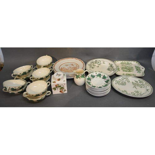 45 - A Wedgewood Part Dinner Service Napoleon Ivy Pattern, comprising soup bowls and saucers and various ...