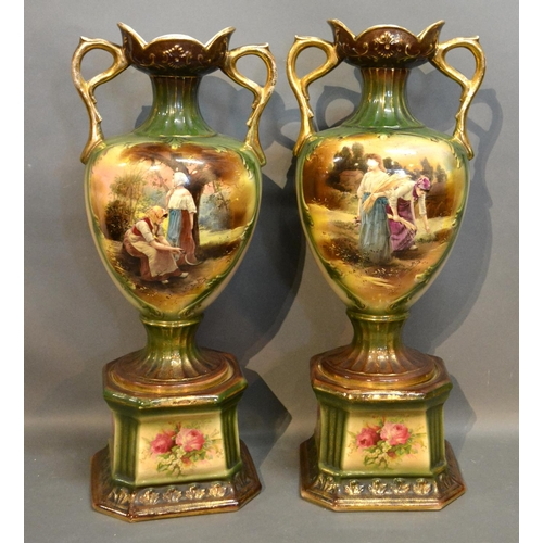 35 - A Pair Of Victorian Two Handled Vases Decorated With Figures within landscapes highlighted with gilt...