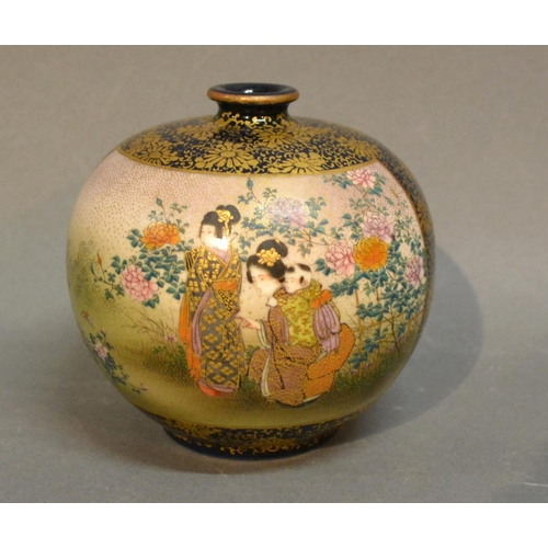 38 - A Satsuma Earthenware Bulbous Shaped Vase Decorated with figures amongst foliage and highlighted wit...