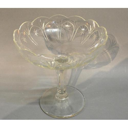 43 - A Cut Glass Table Center With Pedestal Base, 25cm Diameter...