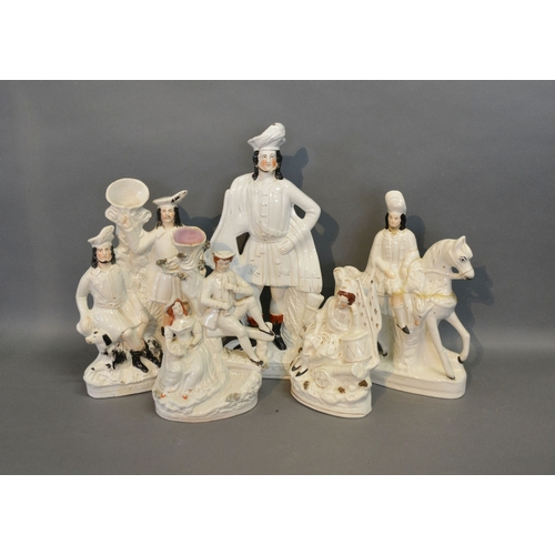 50 - A Group Of Five 19th Century Large Staffordshire Groups...