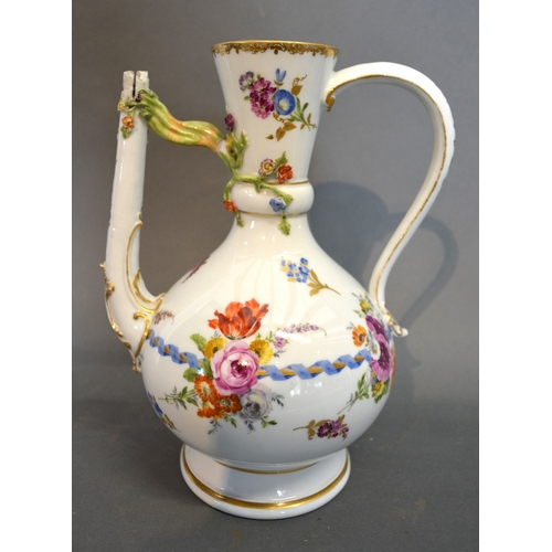 52 - A 19th Century Meissen Porcelain Jug Handpainted With Summer Flowers and highlighted with gilt, blue...