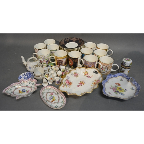55 - A Collection Of Twelve Coalport Commemorative Coffee Cans with saucers, together with a small thimbl...