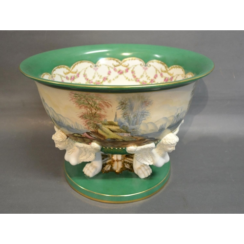 58 - A French Sevres Style Large Pedestal Bowl hand painted with a continuous band depicting a lake scene...