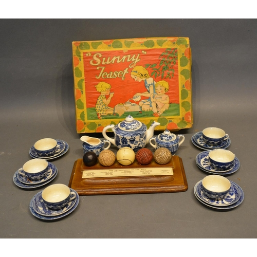 32 - A Children's Tea Set Decorated in the Willow Pattern, together with a pen tray mounted with simulate...