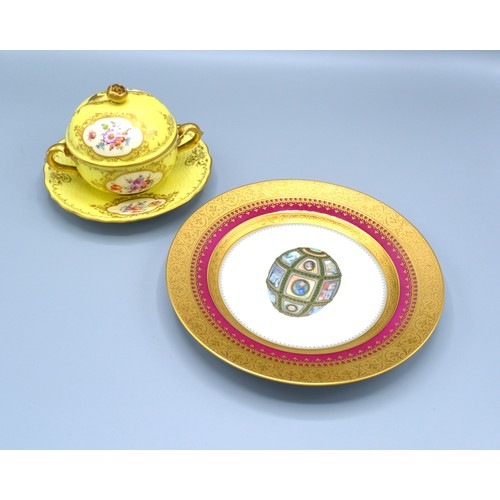 6 - A Faberge Forbes Magazine Collection Fifteenth Anniversary Plate together with a Dresden porcelain c...