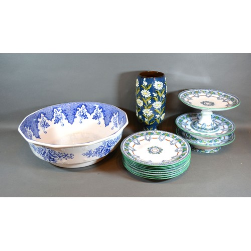 42 - *** Collect ***A Victorian Dessert Service together with an underglaze blue decorated bowl and a ped...
