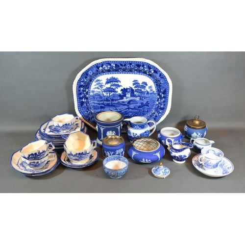 43 - A 19th Century Copeland Spode Tower Pattern Meat Platter together with other related items