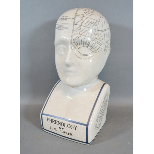 46 - A Phrenology Head bearing inscription L.N. Fowler, 28cm tall