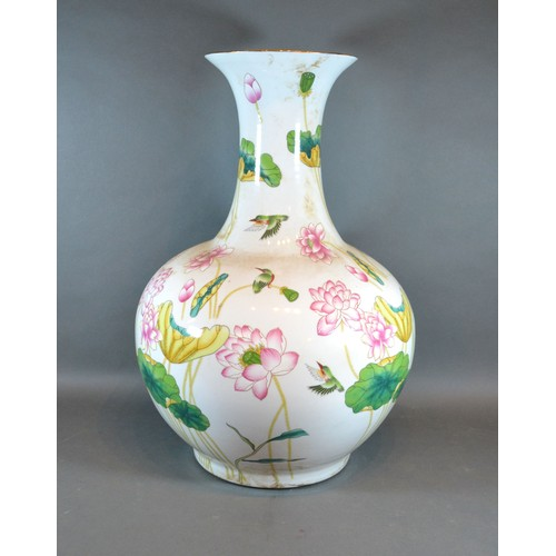 48 - A Chinese Bottleneck Large Vase decorated with Exotic Birds amongst Foliage, red seal mark to base, ...