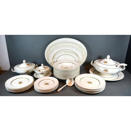 55 - *** COLLECT *** A Carlton Shape Dinner Service comprising plates, two covered tureens and other item...