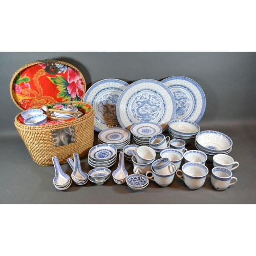 58 - A Collection of Chinese Rice Pattern Ceramics to include cups and saucers, plates and a teapot with ...