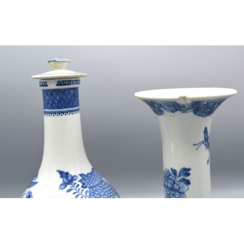 8 - A Chinese Porcelain Covered Bottleneck Vase decorated in underglaze blue together with a Chinese por...